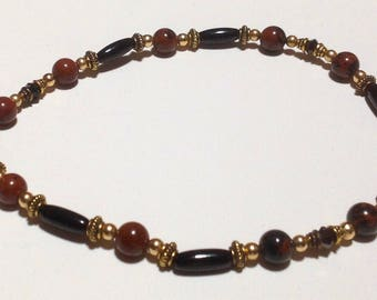 Anklet made with black Onyx and Brownstone beads