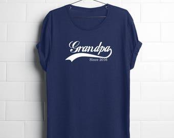 Customizable Year Grandpa Since 2016 Shirt | New Grandpa | Grandpa Fathers Day,Grandpa TShirt Funny,Grandpa Announcement,Grandpa Shirt Funny