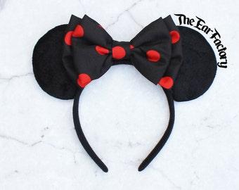 Mickey Ears, Polka Dot Minnie Mouse Ears, Mickey Mouse Ears, Polka Dot Bow, Minnie Ears, Custom Mickey Ears, Disney Ears, Disneyland Ears