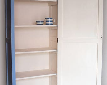 Solid timber blue painted pantry cupboard (free local delivery)