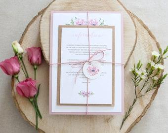 Spring Floral Wedding Invitation // Pink Anemone Watercolour Invite // Rustic Wedding Invitation
