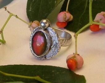 Ammolite Ring Sterling Silver  OOAK Utah Gem in .925 Sterling Silver Statement Ring Size 6 1/2  Red 352 B