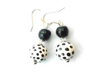 African Kazuri ceramic earrings, hand made and hand painted beads, fair trade