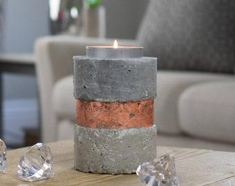 Rose Gold Candle Holder | Tea Light Holder | Concrete | Ceramic |