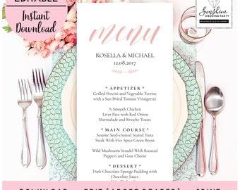 Pink Wedding Menu Template, Printable Script Font Wedding Menu Template, Editable Template, Editable PDF File, Digital Download