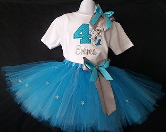 Personalized Embroidered Birthday Elsa Frozen Birthday Shirt Tutu Name Age Outfit Bodysuit