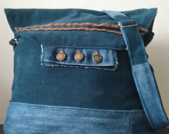 Hand made bag of recycled jeans and Ribcord