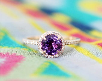 7mm Round Cut Amethyst Engagement Ring Stackable Unique Wedding Ring Set Promise Ring 14K Gold Halo Diamond Amethyst Ring Anniversary Ring