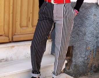 Vintage Jeans. Boyfriend style jeans. Black and white trousers or jeans. 80s. High waist jeans. Size S