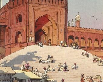 "Japanese Art Print ""Jami Masjid, Delhi"" from the India and Southeast Asia Series by Yoshida Hiroshi, woodblock reproduction, street market"