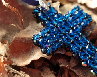 Handmade blue black cross NECKLACE with Royal Blue Swarovski glass pearls - Pearl Necklace