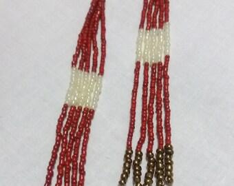Long earrings red fringes earrings boho gift for woman gift