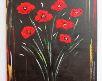 Red Textured Poppies