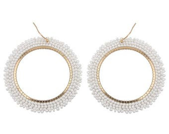 White-Gold Hoop Earrings