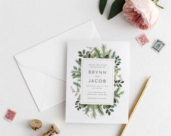 Modern Botanical Wedding Invitation, Greenery Box Wedding Invite, Botanical Wedding, 5x7 Wedding Invitations, Digital Download