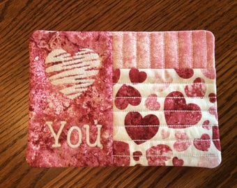 """FREE US SHIPPING, Quilted Love You Mug Rug, Coffee Coaster, Snack Placemat, Java Mug Rug, size: 7.5"""" x 5.5"""""""