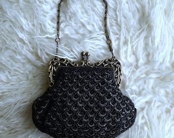 Black Vintage Jeweled Purse