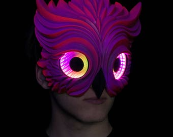 Purple Owl Mask featuring Infintiy LED Lenses, UV reactive