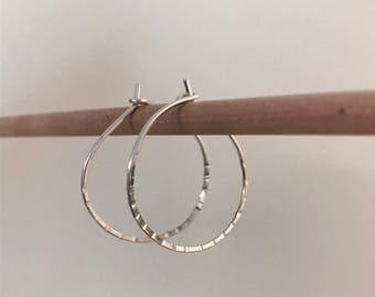 Hammered Hoop Earrings in Sterling Silver/Line Hammered/Gift for Her/Womens Earrings/Modern Hoops/Valentine's day gift