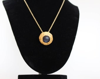 black and gold up cycled necklace, button necklace, vintage neckalce