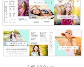 Trifold Pricing Guide | Senior Guide | 5x5 Trifold Template | Photo Template | Mod Mint