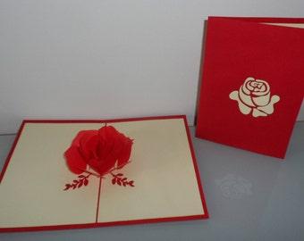 Single Red Rose Pop up Card Valentine-anniversary-mothers day-birthday (sku036)