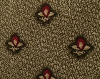 Civil War Reproduction Fabric 1840-1860, Olive Green Flower Bud Fabric, Judie Rothermel Collection, Victorian Era Fabric