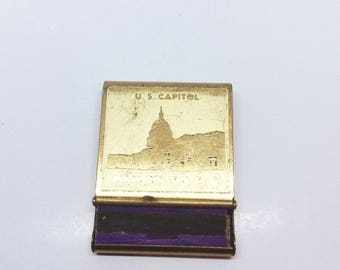 Vintage US Capitol Washington DC Matchbook Holder, Brass Perpetual Calendar on Back, Etched Products Corp