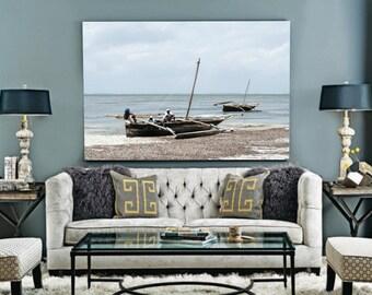 Beach Print, Boats Print, Beach Decor, Coastal Print, Ocean Printable, Home Decor, Beach Poster, Printable Fishing Boat, African Art Decor