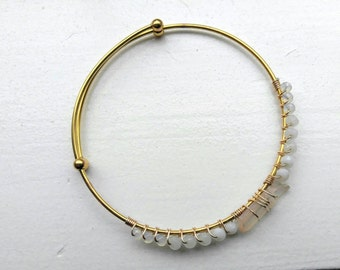 Champagne Crystal Beaded Bangle - 14 kt Gold Plated - bridesmaid gift