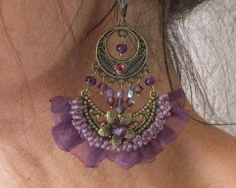"Ruffle ""Sirocco"" on a chandelier earrings raspberry plum tone half moon"