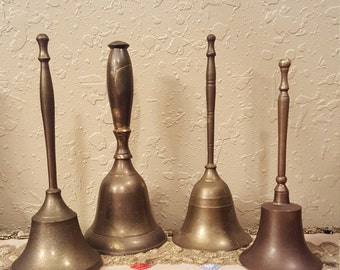 Vintage brass bell collection.  Mismatched brass bell set.  4 retro bells
