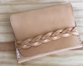 Handmade hand-stitched braided leather card case card holder small wallet