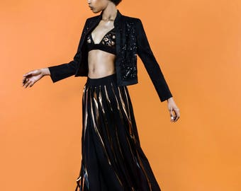 The rocking one - Maxi skirt / / fringe rock / / black skirt / / fringe / / handmade / / unique / / Gr. 36