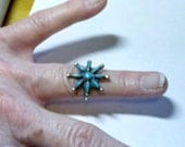 Vintage Zuni? Cross stitch starburst silver and turquoise ring