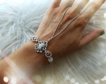 Boho chic slave bracelet with rose quartz