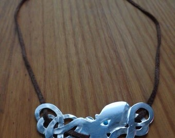 Sterling Silver Celtic Octopus Pendant Necklace