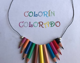 Handmade necklace with colored pencils