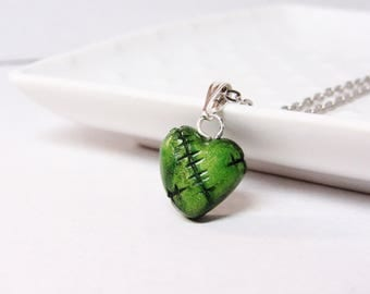 Zombie Love Heart Necklace - Neon Green - Frankenstein -Zombie Halloween Costume - Gothic Necklace - Polymer clay charms - Classic Zombies