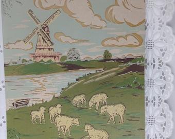 Vintage print windmill, sheep grazing, pastel colors, 8 X 10, suitable for framing, nursery print, Holland, Dutch, vpp33