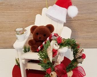 Miniature Adirondack Chair Christmas Ornament, White Adirondack Chair, Teddy Bear Christmas Ornament