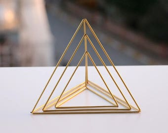 Brass Tetrahedron Nesting Triangle Centerpieces, Himmeli Brass Triangles, Office Desk, Coffee Table, Mobile, Geometric Ornament, Library Dec