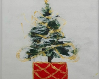 "Oh Christmas Tree   1    Christmas tree ornament,  original signed painting, winter, acrylic on 4""x4""canvas"