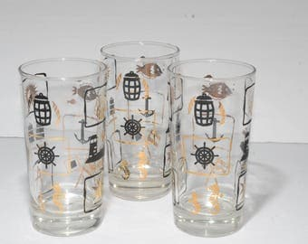 3, Vintage, Gold and Black, Mid-century, Nautical, Tumbler, Drinking glass, by DOMINION, Retro, Highball Glass, Anchor,Seahorse,fish,compass