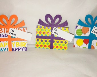 Birthday Gift Tags, Set of 12, Gift Tags, Present Gift Tags, Birthday Tags, Handmade Gift Tags, Handmade Birthday Tags