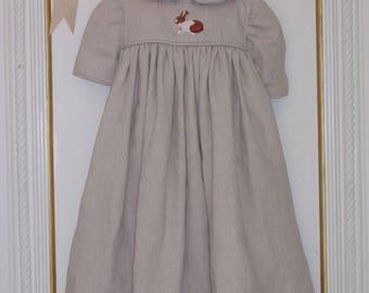 Linen Baby Girl Dress, 4 to 6 Months. 100% Natural Linen. Bunny Applique