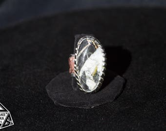 Men's, Large, White Buffalo Turquoise, Silver and Copper ,Wide Band ,Size 12 3/4 U.S., Ring