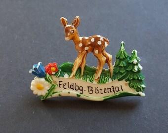 1950s 50s German celluloid Bambi brooch / Souvenir/ Bärental