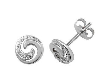 9ct White Gold 0.02ct HSi Diamond Swirl 6mm Stud Earrings
