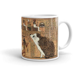 Hedgehog Art Mug - Ancient Egyptian Papyrus Mug - Hedgehog Goddess Mug - by Urchin Wear